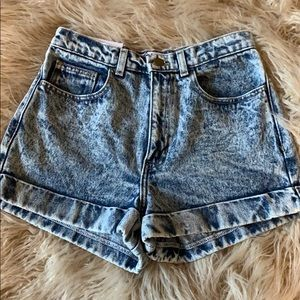 American Apparel High Rise Acid Washed Shorts